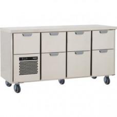 Модуль барный холодильный, 1660х550х900мм, без борта, 7 выд.секций, ролики, +5/+15С, нерж.сталь, агрегат слева