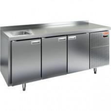 Модуль барный холодильный, 1835х700х850мм, борт, 3 двери глухие, мойка GN1/2, ножки, -2/+10С, нерж.сталь, дин.охл., агрегат справа