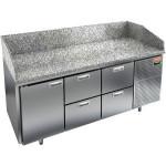 Стол холодильный для пиццы, GN1/1, L1.84м, 1 дверь глухая+4 ящика, ножки, +2/+10С, нерж.сталь, дин.охл., агрегат справа, гранит.пов.