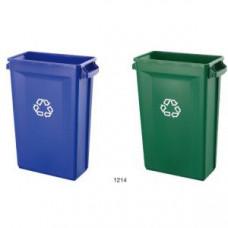 Контейнер для мусора SLIM L 50,7см w 27,2см h 75,6см 87л с вентиляционной системой и ручками, пластик синий