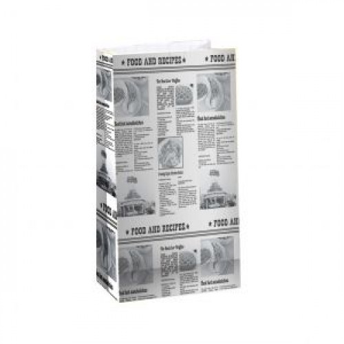 Пакет 210х105х60мм ГАЗЕТА прямоугольное дно бумага
