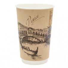 Стакан для горячих напитков двухслойный Города мира крафт 400мл бумага