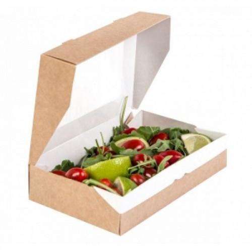 Коробка универсальная с окном 1000мл бумага крафт