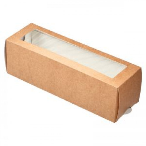 Коробка для пирожных с окном 180х55х55мм бумага крафт