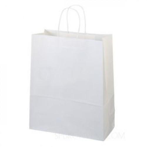 Пакет 250х220х120мм с крученой ручк. прямоугольное дно бумага белый