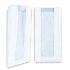 Пакет 250х140х60мм с окном плоское дно бумага белый