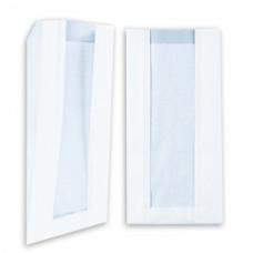 Пакет 340х200х60мм с окном плоское дно бумага белый
