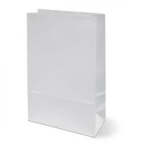 Пакет 250х120х80мм прямоугольное дно бумага белый