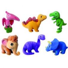 Игрушки-животные ДИНОЗАВРЫ пластик с текстильным напылением