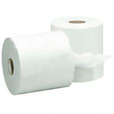 Полотенца бумажные 2-слойные без перфорации на втулке целлюлоза белые