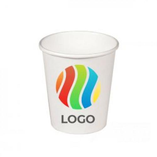 Стакан бумажный для горячих напитков однослойный 100мл с ЛОГОТИПОМ