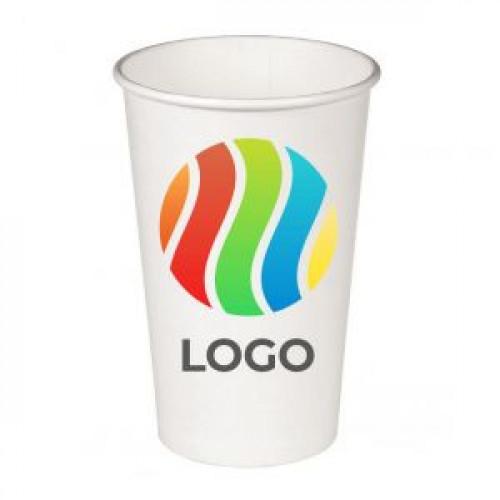 Стакан бумажный для горячих напитков однослойный 400мл с ЛОГОТИПОМ