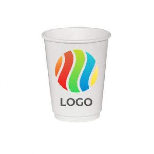 Стакан бумажный для горячих напитков двухслойный 250мл с ЛОГОТИПОМ