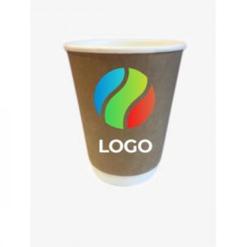 Стакан бумажный для горячих напитков двухслойный крафт 400мл с ЛОГОТИПОМ