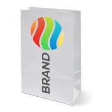 Пакет двухслойный 210х105х60мм бумага белая ЛОГОТИП 3 цвета, Тираж 72 000шт