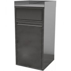 Модуль барный нейтральный для мусорного бака, 560х560х1150мм, 3 борта, закрытый, 1 дверь распашная, нерж.сталь, вертушка
