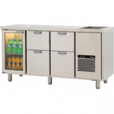 Модуль барный холодильный, 1660х650х850мм, без борта, 1 дверь стекло+ 4 выд.секц., ванна охл.GN1/1, ножки, +2/+15С. нерж.сталь, дин.охл., агрегат спр.