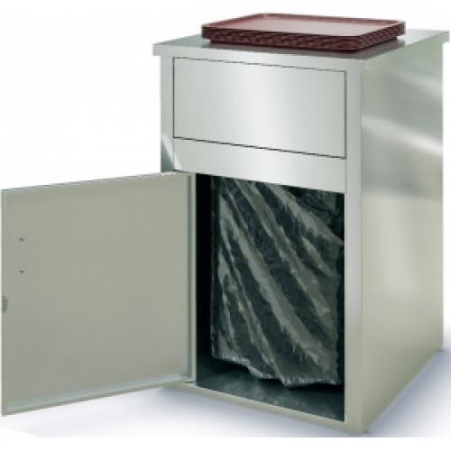 Модуль барный нейтральный для мусорного бака, 610х610х1065мм, без борта, закрытый, 1 дверь распашная, нерж.сталь 430, вертушка