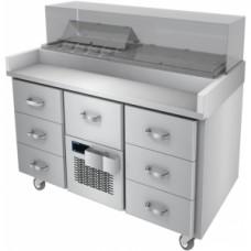 Стол холодильный для сэндвичей, GN1/1, L1.26м, борт, 7 выдвижных секций, колеса, +2/+4С, нерж.сталь, дин.охл., агрегат центр., возвыш.16GN1/9, защитно