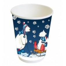 Стакан для горячих напитков двухслойный Белые Мишки 300мл бумага