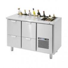 Модуль барный холодильный, 1260х650х850мм, без борта, 4 выд.секц., ванна охл.GN2/3, карман, ножки, +2/+15С. нерж.сталь, дин.охл., агрегат справа