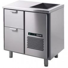 Модуль барный холодильный, 860х650х850мм, без борта, 2 выд.секц., ванна охл.GN1/1, ножки, +2/+15С, нерж.сталь, дин.охл., агрегат справа