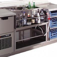 Модуль барный нейтральный, 400х550х900мм, без борта, полузакрытый без двери, ножки 140мм, нерж.сталь, держ.бутылок, ванна для льда