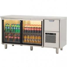 Модуль барный холодильный, 1660х550х900мм, без борта, 2 двери-купе стекло+1 выд.секция, ножки 140мм, +5/+15С, нерж.сталь, агрегат справа