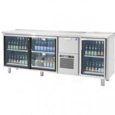 Модуль барный холодильный, 2060х550х900мм, без борта, 2 двери-купе стекло+1 выд.секция+1 дверь стекло, ножки 140мм, +5/+15С, нерж.сталь, агрегат центр