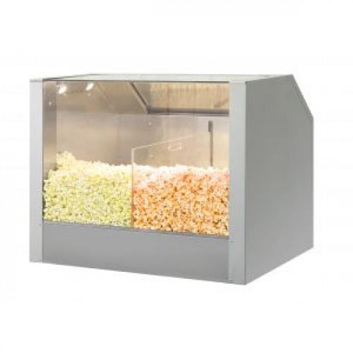 Витрина для попкорна напольная насыпная, 2 секции, подогрев