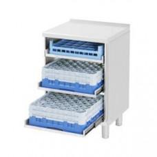 Модуль барный нейтральный для посудомоечных корзин, 600х550х850мм, без борта, полузакрытый без двери, ножки 90мм, нерж.сталь