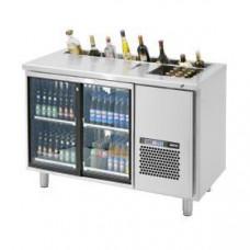 Модуль барный холодильный, 1260х650х850мм, без борта, 2 двери стекло, ванна охл.GN2/3, карман, ножки 140мм, +2/+15С, нерж.сталь, дин.охл., агрегат спр
