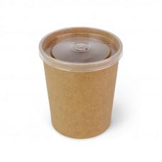 Контейнер для супа бумажный, крафт с прозрачной крышкой 760 мл