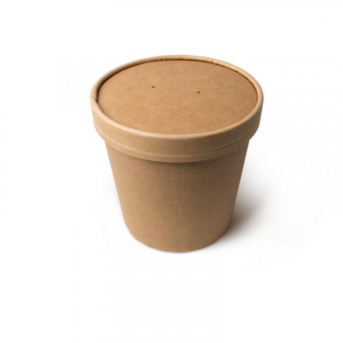 Контейнер для супа бумажный, крафт с крышкой 760 мл