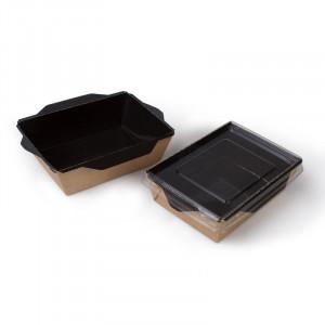 Коробка универсальная с пластиковой крышкой 400мл бумага крафт/чёрный