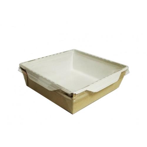 Коробка универсальная с пластиковой крышкой 1200мл бумага крафт