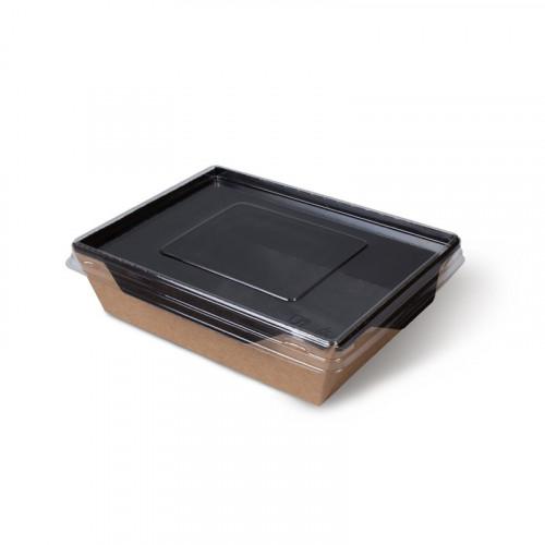 Коробка универсальная с пластиковой крышкой 500мл бумага крафт/чёрный