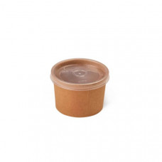 Контейнер для супа бумажный, крафт с прозрачной крышкой 230 мл