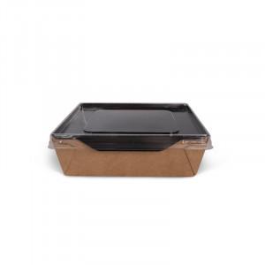 Коробка универсальная с пластиковой крышкой 900мл бумага крафт/чёрный