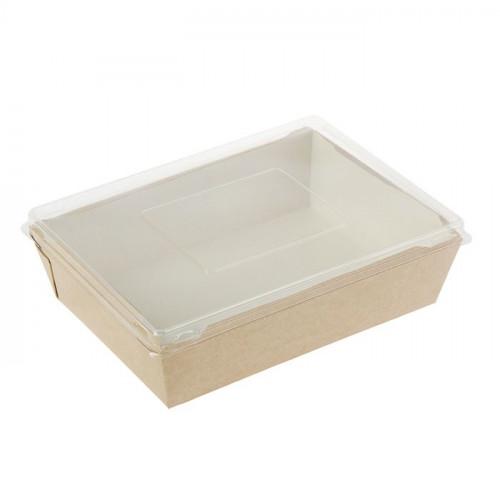 Коробка универсальная с пластиковой крышкой 500мл бумага крафт