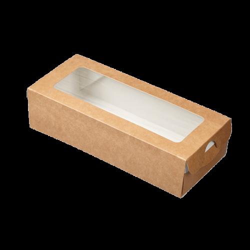 Коробка-пенал универсальная с окном 500мл бумага крафт