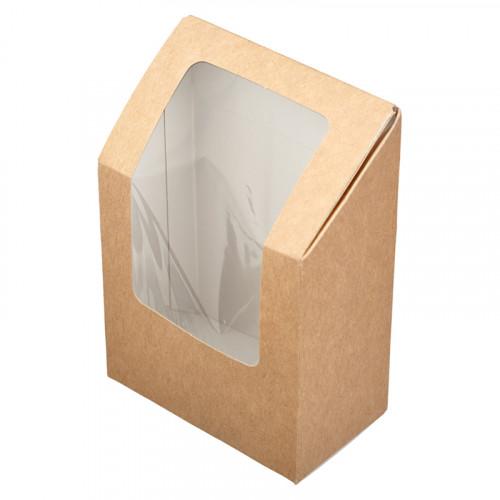 Коробка для ролла с окошком 90x50x130мм картон крафт