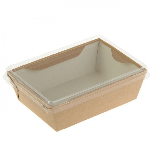 Коробка универсальная с пластиковой крышкой 400мл бумага крафт