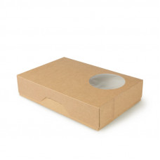 Коробка для пончиков с окном 185х270х55мм бумага крафт