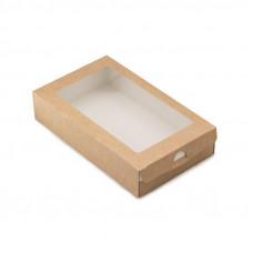 Коробка-пенал универсальная с окном 1000мл бумага крафт