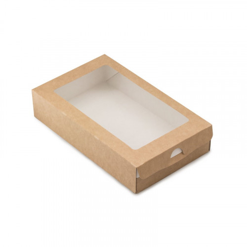 Коробка для 12 макарони,  с окном 180х110х55мм бумага крафт
