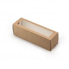 Коробка для 6 макарони,  с окном 180х55х55мм бумага крафт