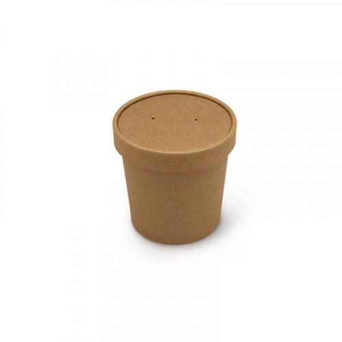 Контейнер для супа бумажный, крафт с крышкой 340 мл