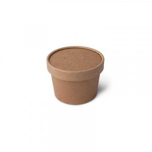 Контейнер для супа бумажный, крафт с крышкой 230 мл