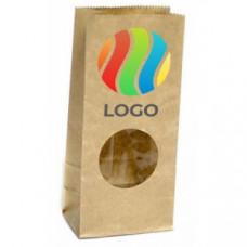 Пакет бумажный двухслойный С ОКНОМ прямоугольное дно крафт с ЛОГОТИПОМ